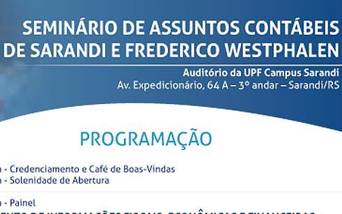 UPF Sarandi sedia Seminário de Assuntos Contábeis de Sarandi e Frederico Westphalen